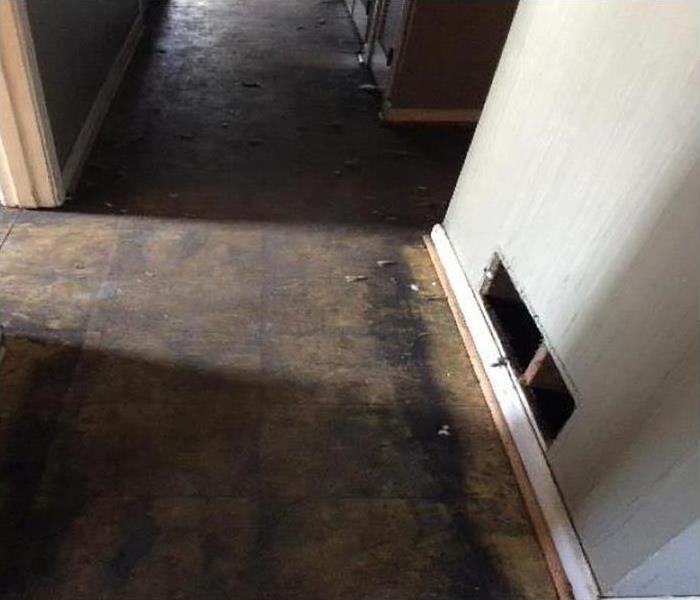 Flooding caused damage and flooring removed
