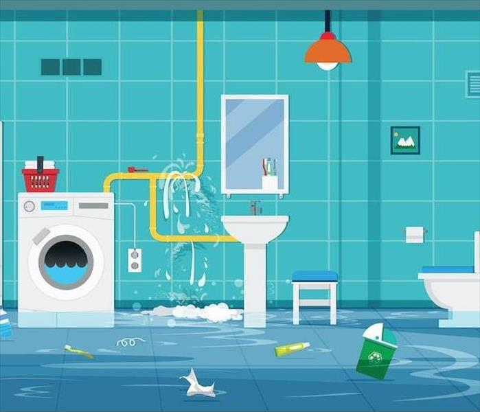 flooded bathroom and laundry room graphic